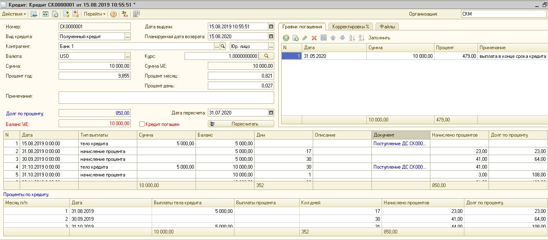 учет кредитов в программе софт-про