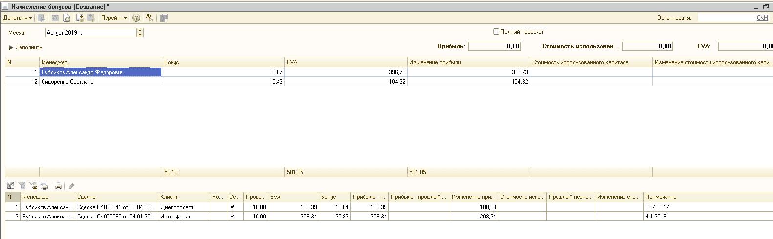 форма документа начисление бонусов софт-про